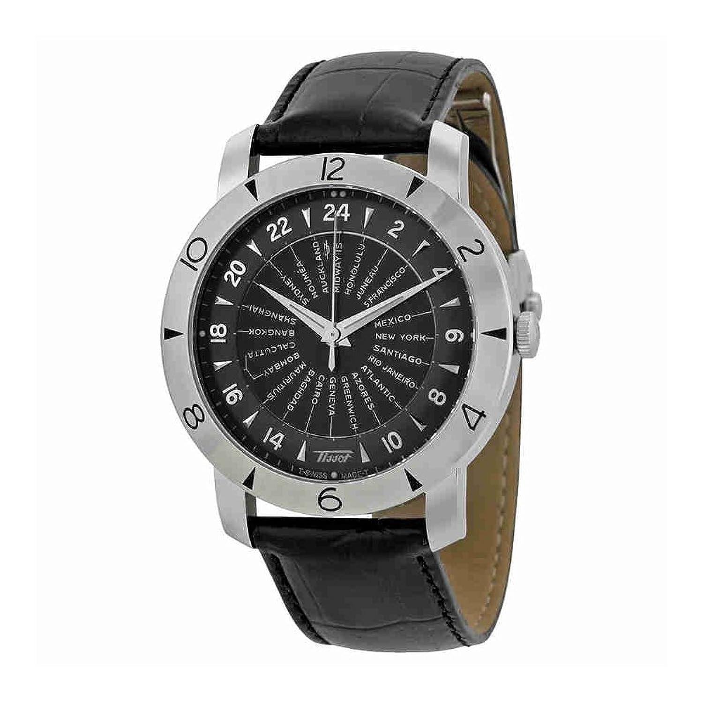 ティソ遺産ナビゲーターブラックダイヤルブラック革メンズ時計t0786411605700 B00DG9JSAA