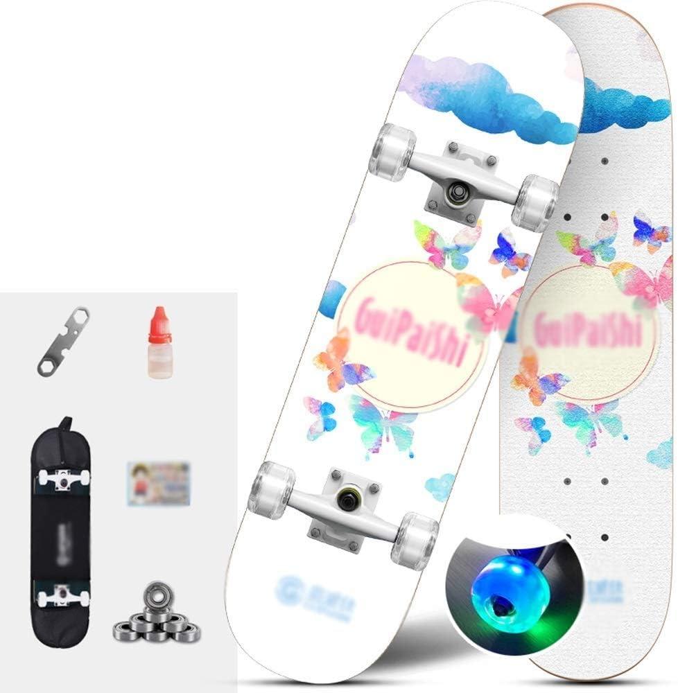 スケートボード フラッシュホイール両面パターンスケートボード高強度アルミ合金ブラケットスケートボードスキルスケートボード滑り止めスケートボード高耐久性スケートボード (Color : E) E