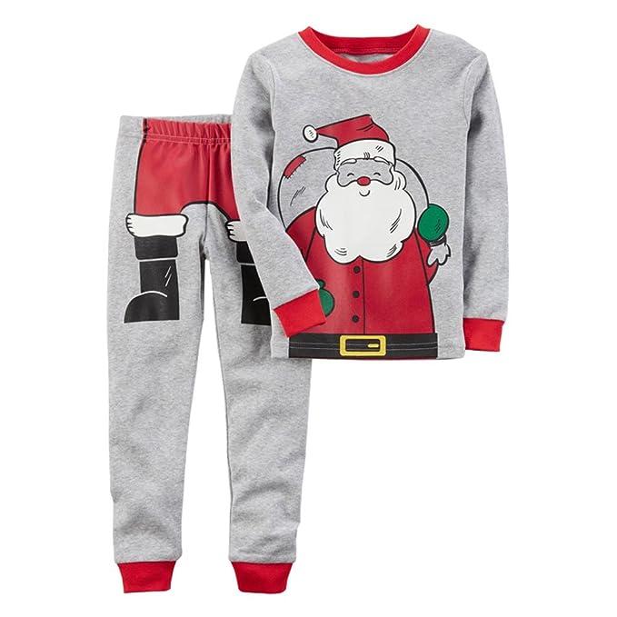 Hzjundasi Navidad Pijamas enteros Cuello redondo Mangas largas Child Pijamas Niños Chicos Ropa de dormir 3