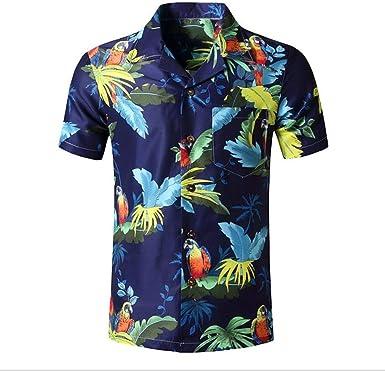 Hawai Camisa Hombres Flor Hoja Playa Partido Vacaciones Moda Impresión Manga Corta Camisa: Amazon.es: Ropa y accesorios