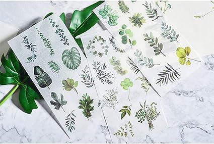 Cento Fiori e Una Foglia SUPVOX 2 PZ Scrapbook Sticker Fogliame Foglie Fiori Fai da Te Photo Album Decor Fai da Te Album Etichetta Bastone Etichetta Scrapbooking Sticker