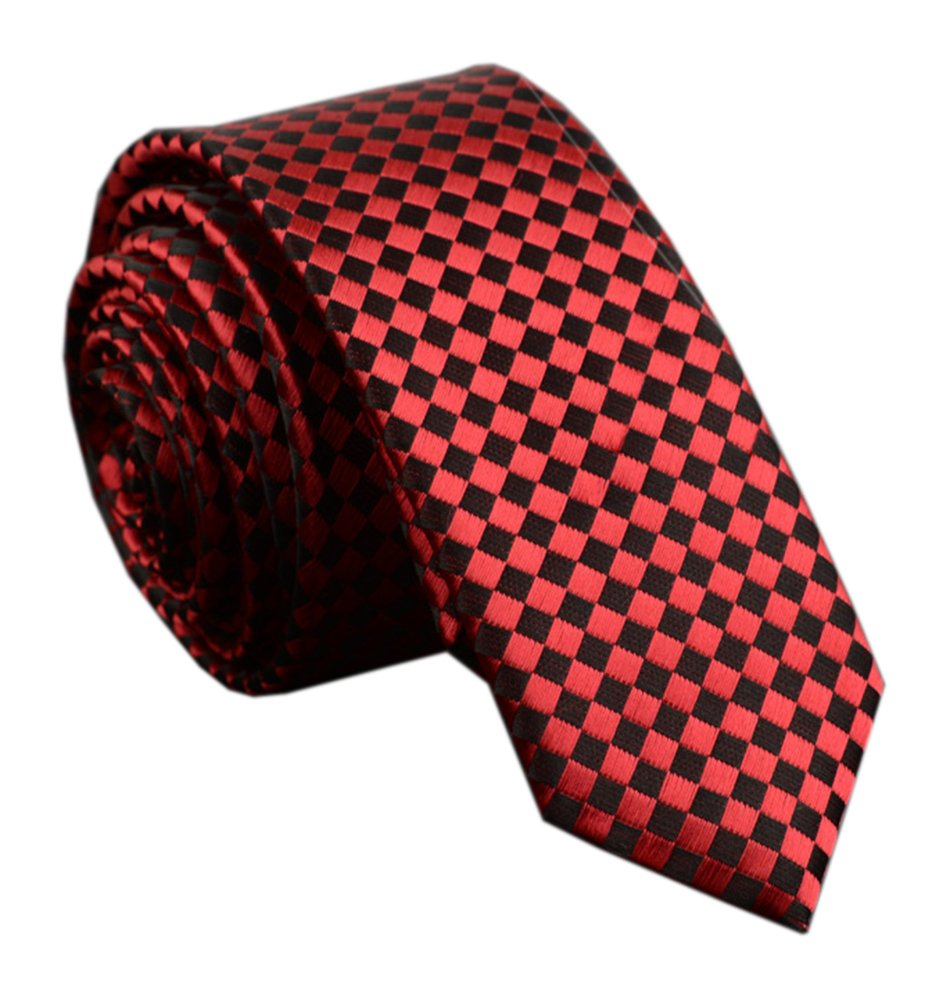 Mens Red and Black Jacquard Woven Silk Ties Job Interviews Dress Classic Necktie