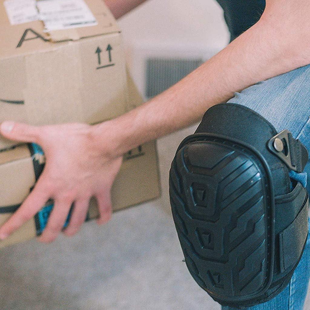 Lamdoo 1 par de Protecciones de Rodilleras Profesionales con Correas Ajustables Coj/ín de Gel EVA Seguro PVC para Trabajos Pesados