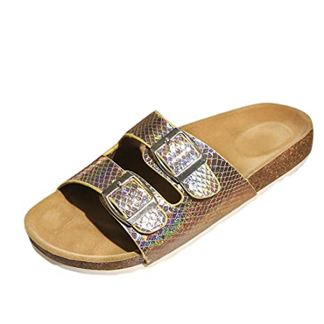 b6c660045ac Amazon.com   Women Cork Slippers Leather Sequin Flat Thong Slides ...