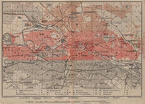 Amazoncom BERLIN KEY MAP Antique Town City Stadtplan Karte - Vintage map berlin