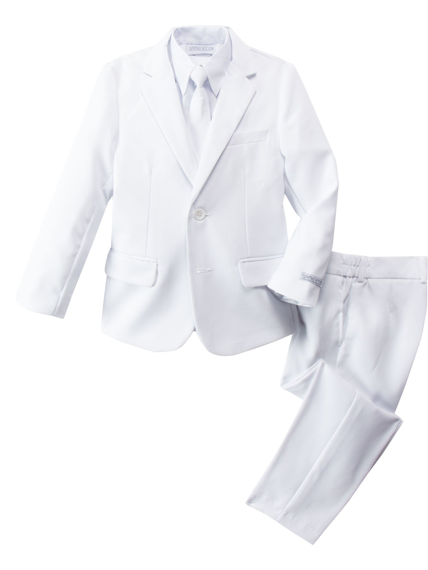 Spring Notion Boys' Modern Fit White Dress Suit Set 8
