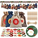 Christmas Advent Calendars Bags,24 Days Drawstring Gift Pouches,Burlap Candy Bag,DIY Xmas Hanging Countdown Sacks,Treat Bag Goody Bags for Party Favor Supplies,Festival