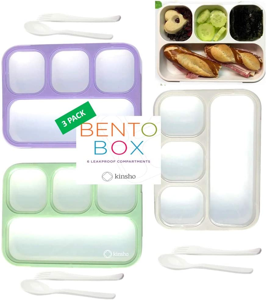 Bento Box Lunch Boxes for Adults Kids, Portion Control Set for Lunches, Snack Container Lunchbox with Dividers, Boys Girls Women Men School Travel Snack Containers Leak-proof Kit, Grey Green Purple