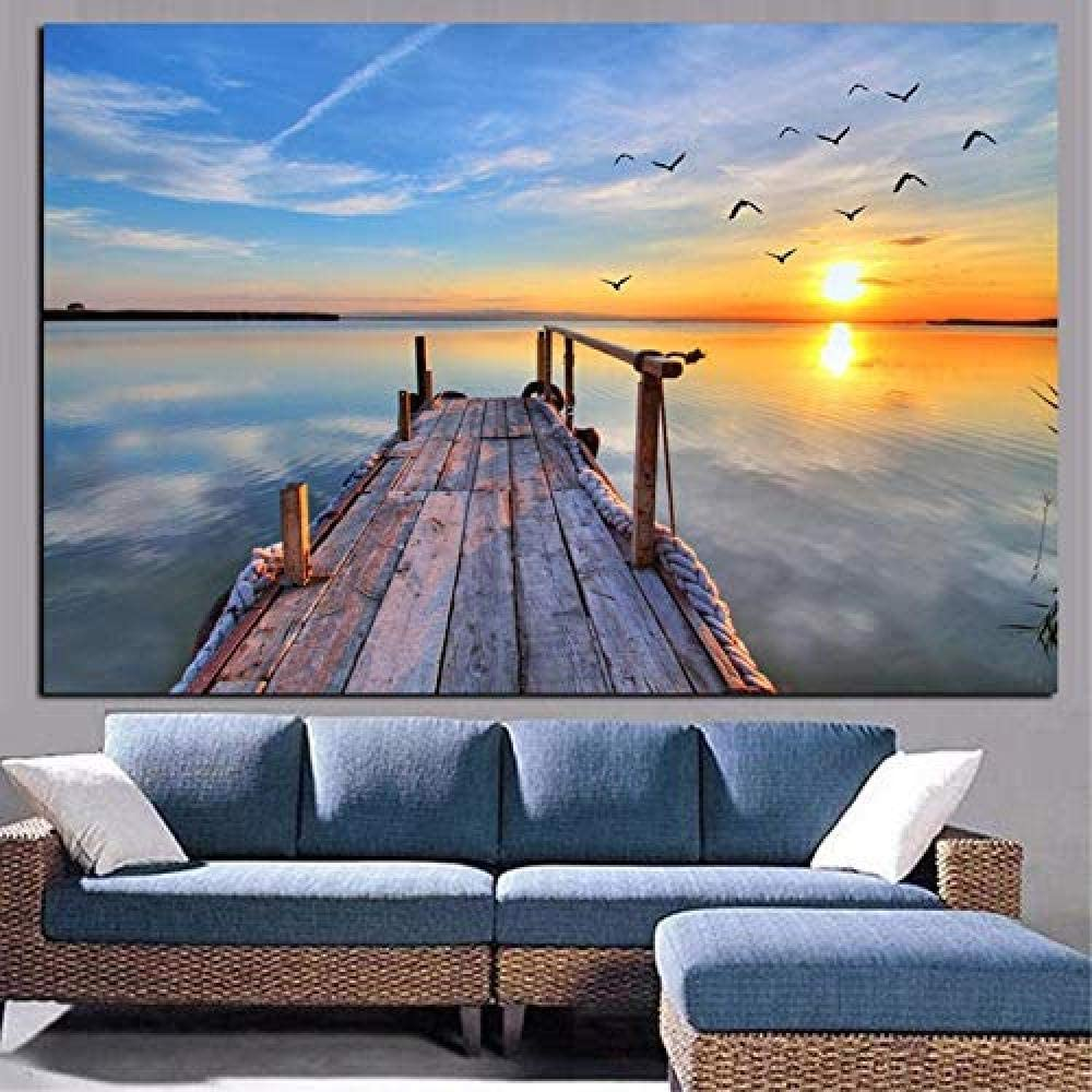 HAIBAOSMS póster Naturaleza cielo atardecer paisaje marino pájaro pintura al óleo moderna lienzo pop art mural para la decoración de la sala de estar