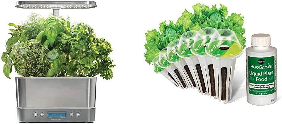 AeroGarden Harvest Elite - Stainless Steel & Salad Greens Mix Seed Pod Kit