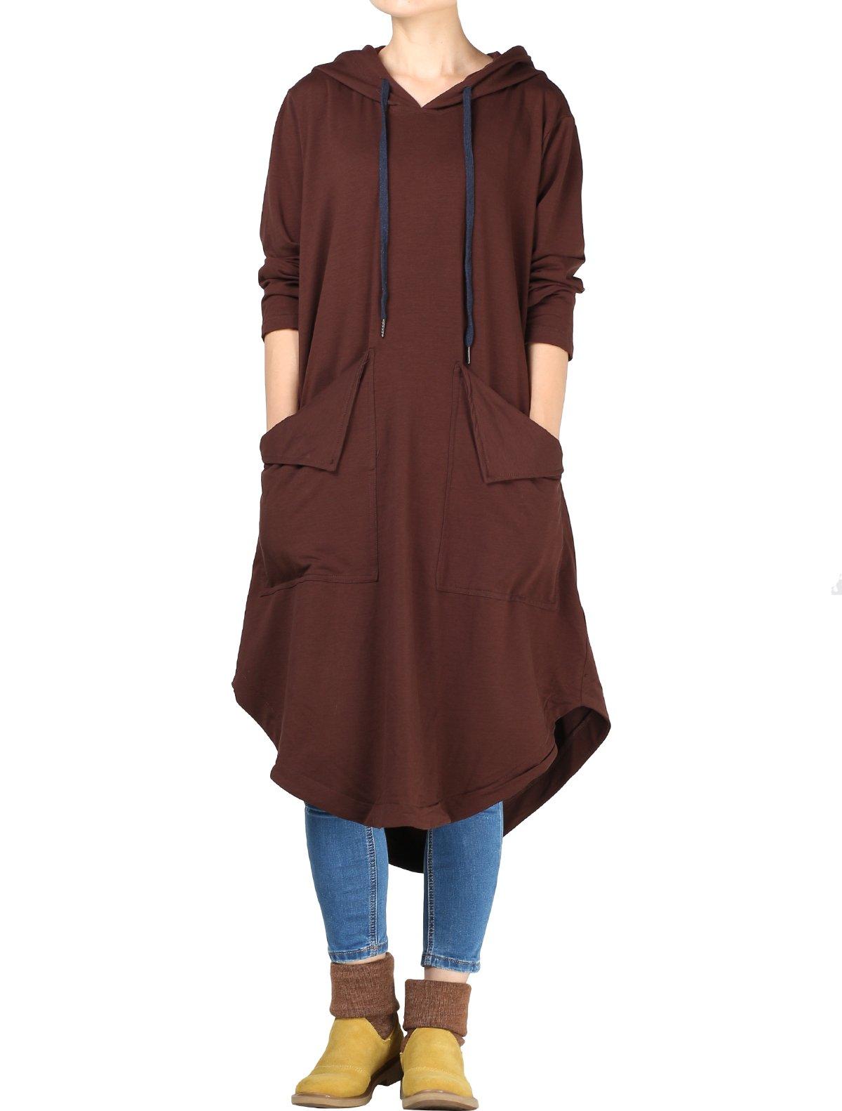 Mordenmiss Women's Drawstring Hood Sweatshirt Dress with Big Pockets L Coffee