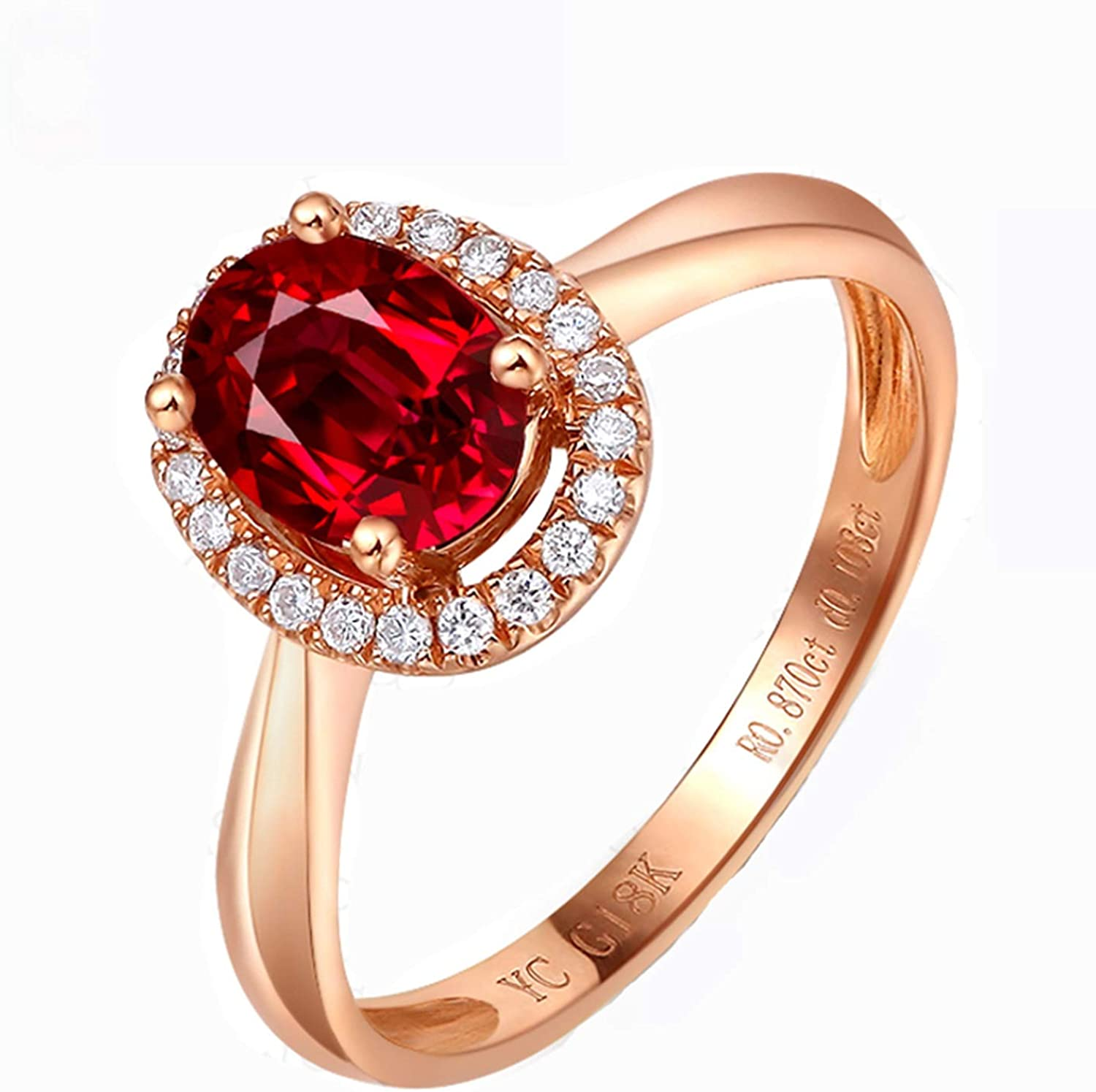 Amazon Com Epinki Women 18k Rose Gold Ring 0 45 1ct Oval Shape Ruby Diamond Ring Fashion Band Rings For Women Jewelry