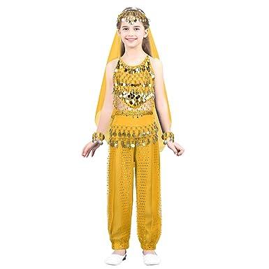 ranrann Vestido Danza del Vientre Lentejuelas para Niña ...