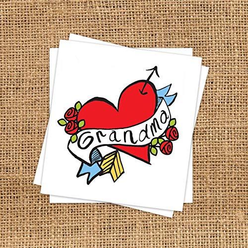 Mom Heart Tattoos (Grandma Heart Temporary Tattoo (3 Pack) | Skin Safe | MADE IN THE USA|)