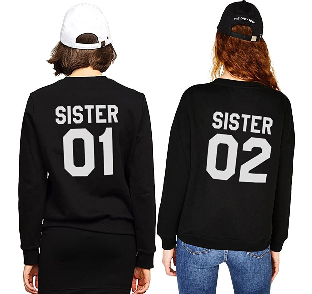 Best Friends Pullover für Zwei Mädchen Sweatshirts Partner Look Rundhals Freundschaft Kapuzenpullis BFF Herbst Rundhal-Pulli Langarm Geschenk 2 stücke