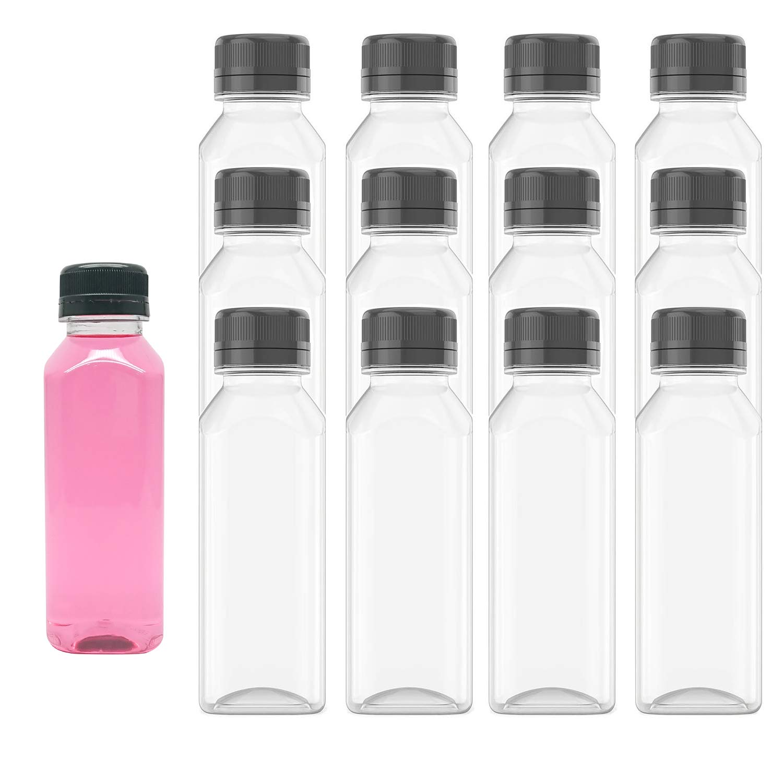 MFDSJ 24 Bottle 8.5 Oz Disposable Plastic Juice Bottle, Plastic Milk Bottle Juice Bottles, Comes with Black Tamper Evident Caps, can be use on Juicing, Milk and Other Beverages