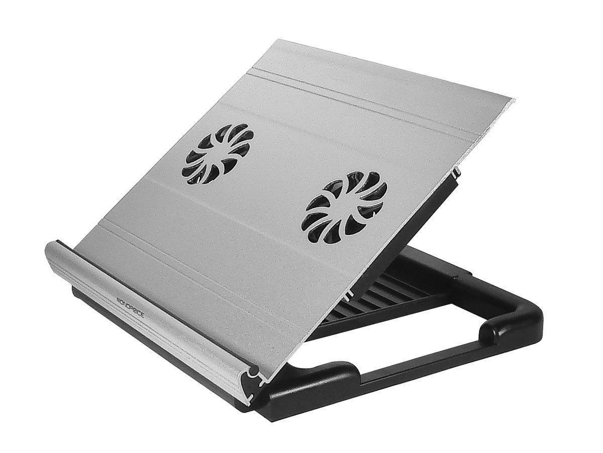 Monoprice Adjustable Aluminum Laptop Riser Cooling Stand w/ Built-In Dual 70mm Fan