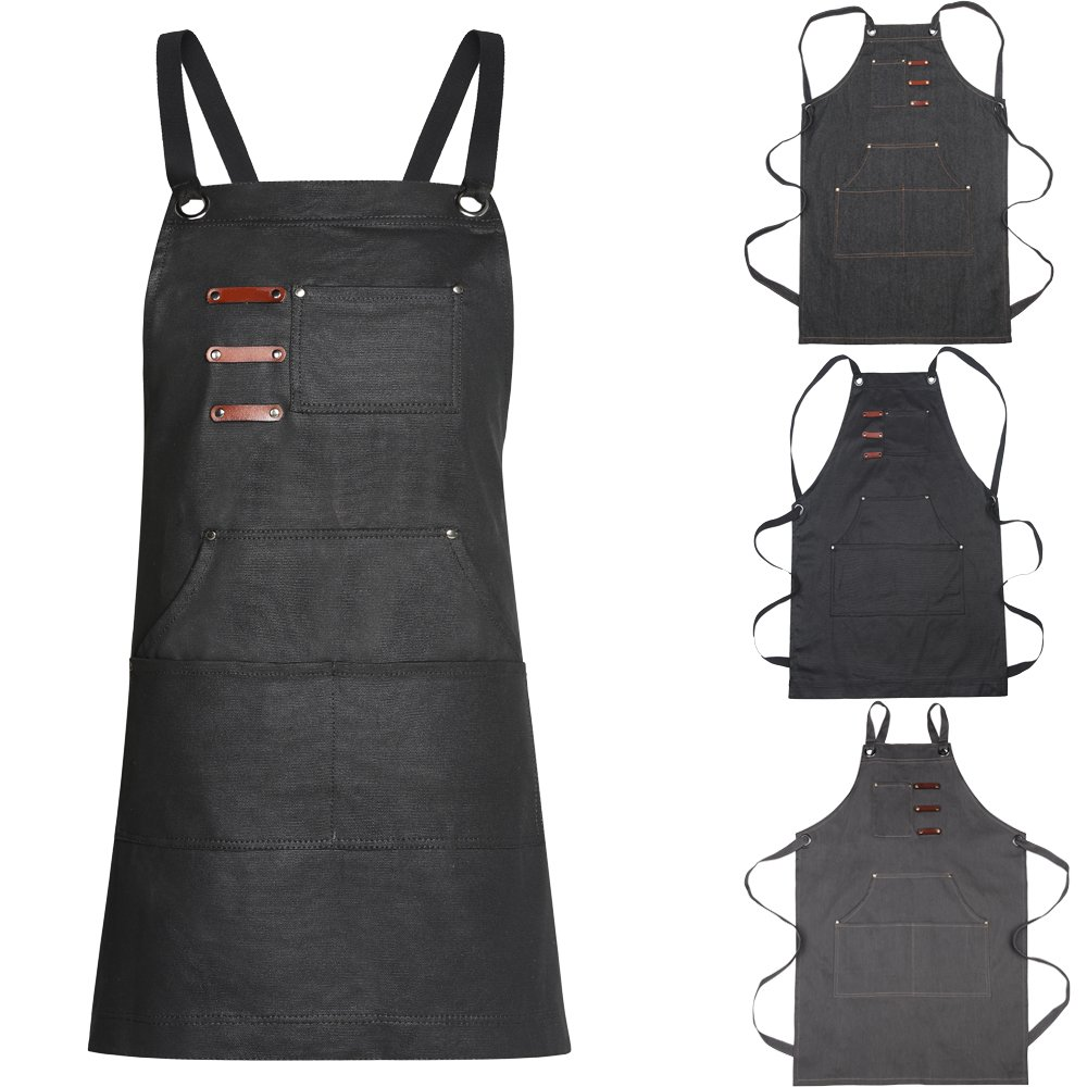 Adjustable Unisex Tool Apron Up to XXL Upgraded for Heavy Duty Waxed Canvas Work, Colorist, Artisan, Bartender, Gardening - Multiple Pockets, Cross-Back Straps, etc. (black-1)