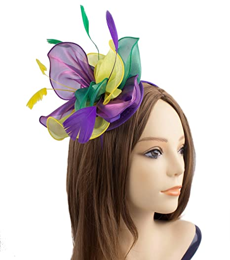 907c4777d2d JAWEAVER Fascinator Hat Feather Party Pillbox Hats Cocktail Kentucky Derby  Headband with Clip for Women (