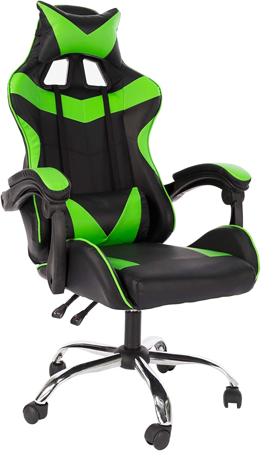 Cosyshow Contrast Bonded Pu Leather Comfortable Adjusted Ergonomic Racing Rock Gaming Chair Reclining Executive Office Desk Chair Head Lumbar Support (Black-Green)