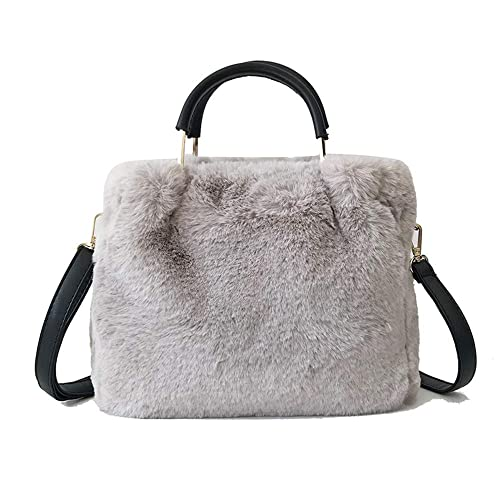 292f34d43f6f Amazon.com  Yu He Womens  Faux fur Messenger Crossbody Shoulder Bag Satchel Tote  Handbag Grey  Shoes