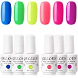 Gellen Gel Nail Polish Kit, Colorful Neon 6 Colors Ultra Bright Tone Rainbow Shades, Trendy Summer Nail Art Designs Home/Salo