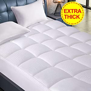 Starcast Sleep Solution Extra Thick Mattress Topper(Full Size),Cooling Cotton Plush Down Alternative Fill Mattress Pad Cover,Gel Fiber Filled Bed Pillowtop(Deep Pocket 8-21Inch) & Abakan