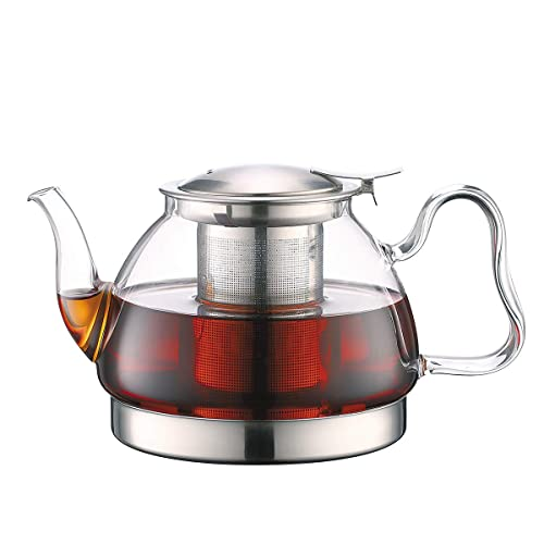 Toyo Hofu Clear High Borosilicate Glass Teapot with Removable Food Grade 304 Stainless Steel Infuser