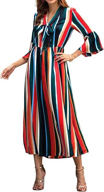 Qixuan Womens Long Dresses Rainbow Striped Long Sleeve