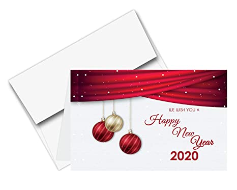 2020 Happy New Year Cards Envelopes Christmas Holiday Xmas New Yrs Red Thank You Greeting Card Set 25 Half Fold Cards A6 Envelopes 4 5 X