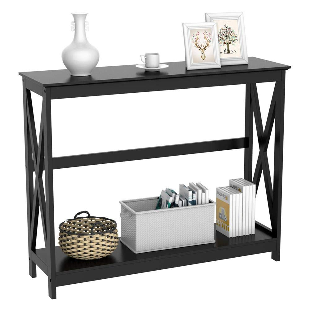 Yaheetech 2 Tier X-Design Occasional Console Sofa Side Table Bookshelf Entryway Accent Tables w Storage Shelf Living Room Entry Hall Table Furniture, Black