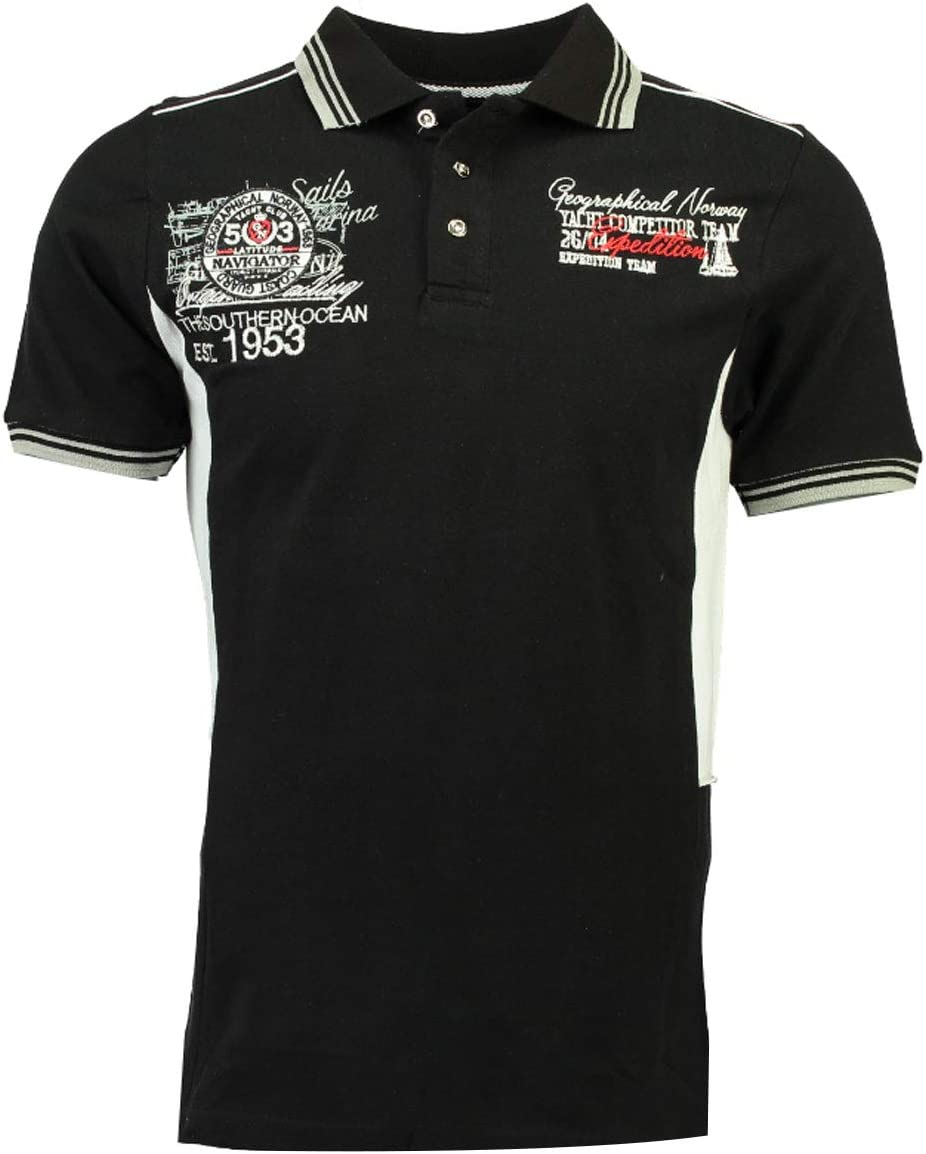 Geographic Norway Kling SS Hombres Polo Camisa, SR035H/GN, Negro ...