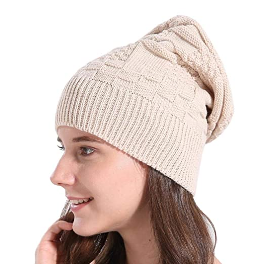 Hunputa Womens Hat Winter Womens Girls Knitted Oversized Baggy Slouchy  Thick Winter Beanie Hat Ski Cap 101ac51cffd