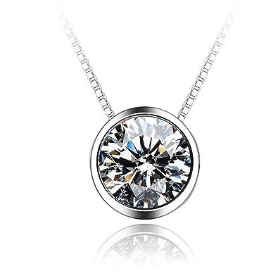14d4cd73cdd1 Blisfille Collares de Fiesta para Bodas Gargantillas Bisuteria Oro Colgante  Plata de Ley Collar de Diamante