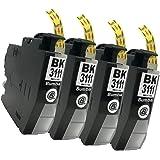 brother(ブラザー)LC3111(BK/ブラック)-4本セット Bumba製互換インクカートリッジ ICチップ付き 残量表示機能付き 【1年商品保証】3111BK-4