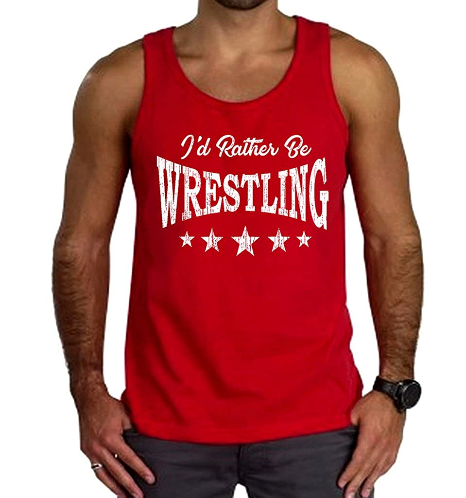 Mens Id Rather Be Wrestling Tee Red Tank Top Red