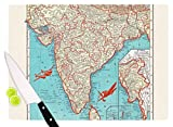 KESS InHouse Catherine Holcombe ''Travel To India'' Teal Red Cutting Board, 11.5'' x 15.75'', Multicolor