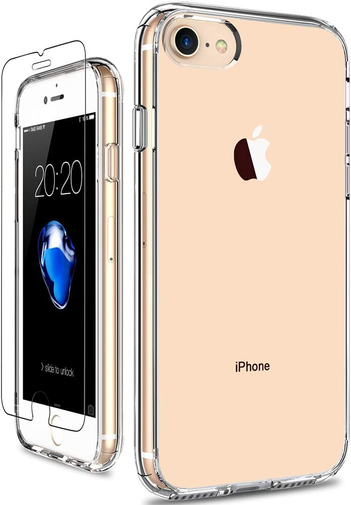 GiiKa iPhone 8 Case, iPhone 7 Case with Screen Protector, Clear Heavy Duty Protective Case Girls Women Shockproof Hard PC Back Case with Slim TPU Bumper Cover Phone Case for iPhone 8 iPhone 7