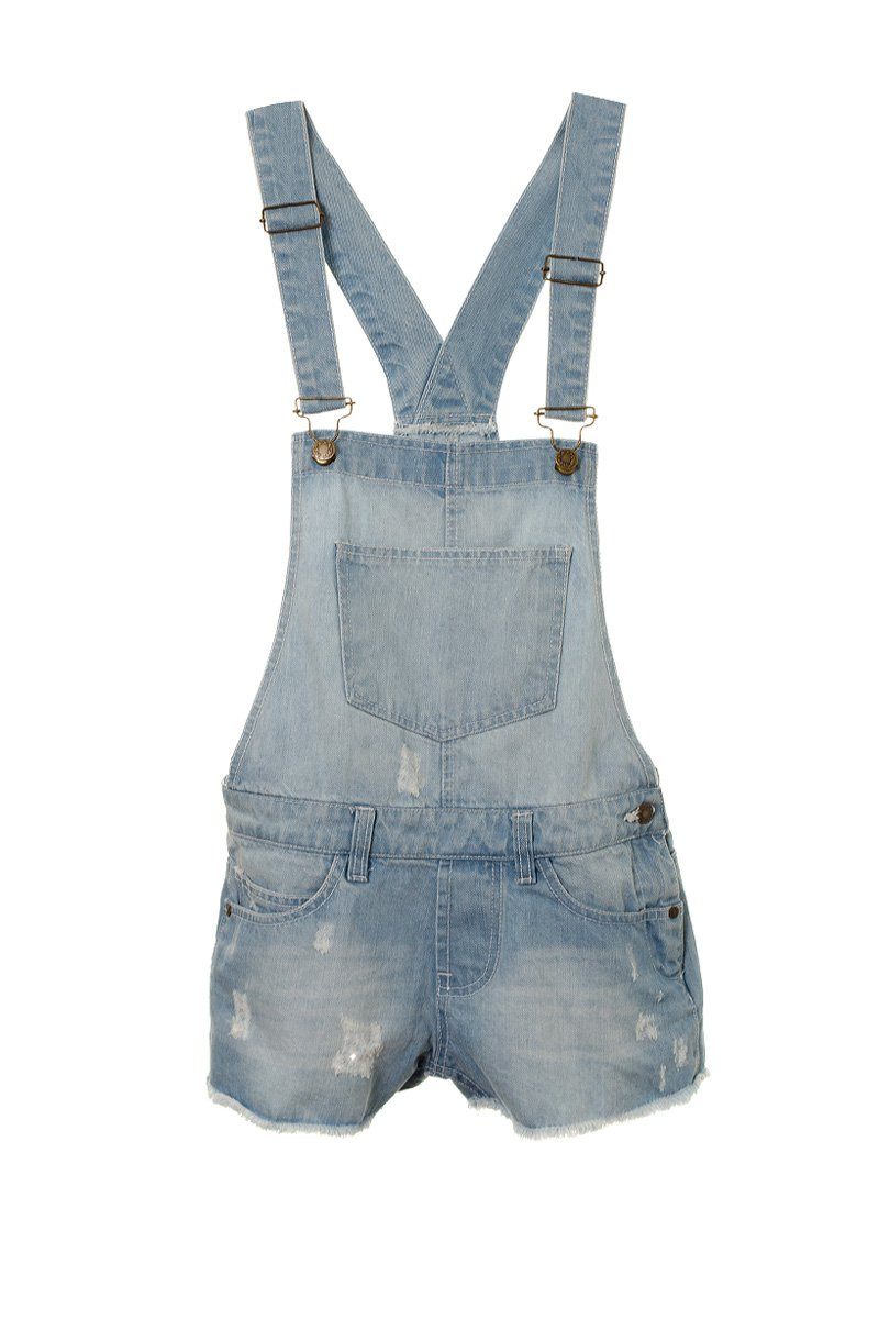 Fuchia boutique Girl's Teenagers Distressed Denim Dungaree Frayed Shorts Playsuit
