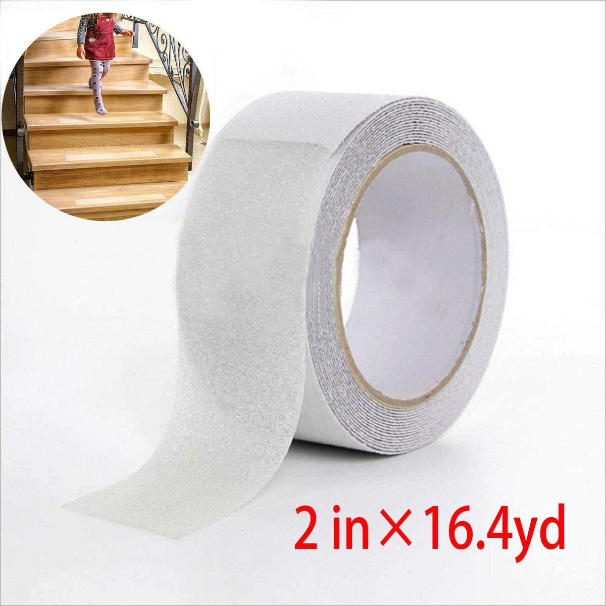 Anti Slip Tape, Anti Slip Tape for Kids, Elders & Pets, Safety Tub and Shower Tread, High Traction, Strong Grip Abrasive for indoor & outdoor, Prevents Slipping (Clear, 2 inch 16.5 yard)