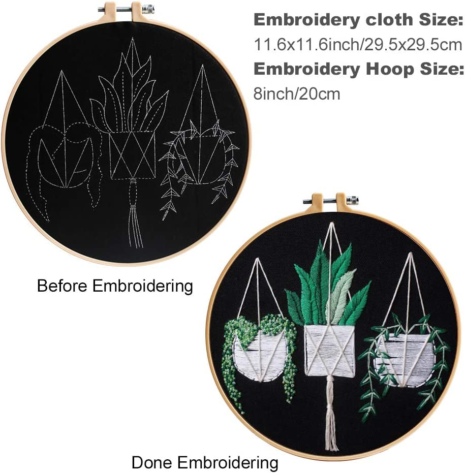 Embroidery Hoop 2 Sets Embroidery Kit with Pattern Including Embroidery Clothes with Floral Pattern Embroidery Starter Kit with Instructions Color Threads and Tools