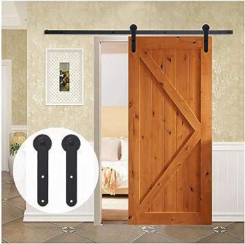 LWZH 7.5FT/208 cm Herraje para Puerta Corredera Kit de Accesorios para Puertas Correderas,Negro Redondo Forma: Amazon.es: Bricolaje y herramientas