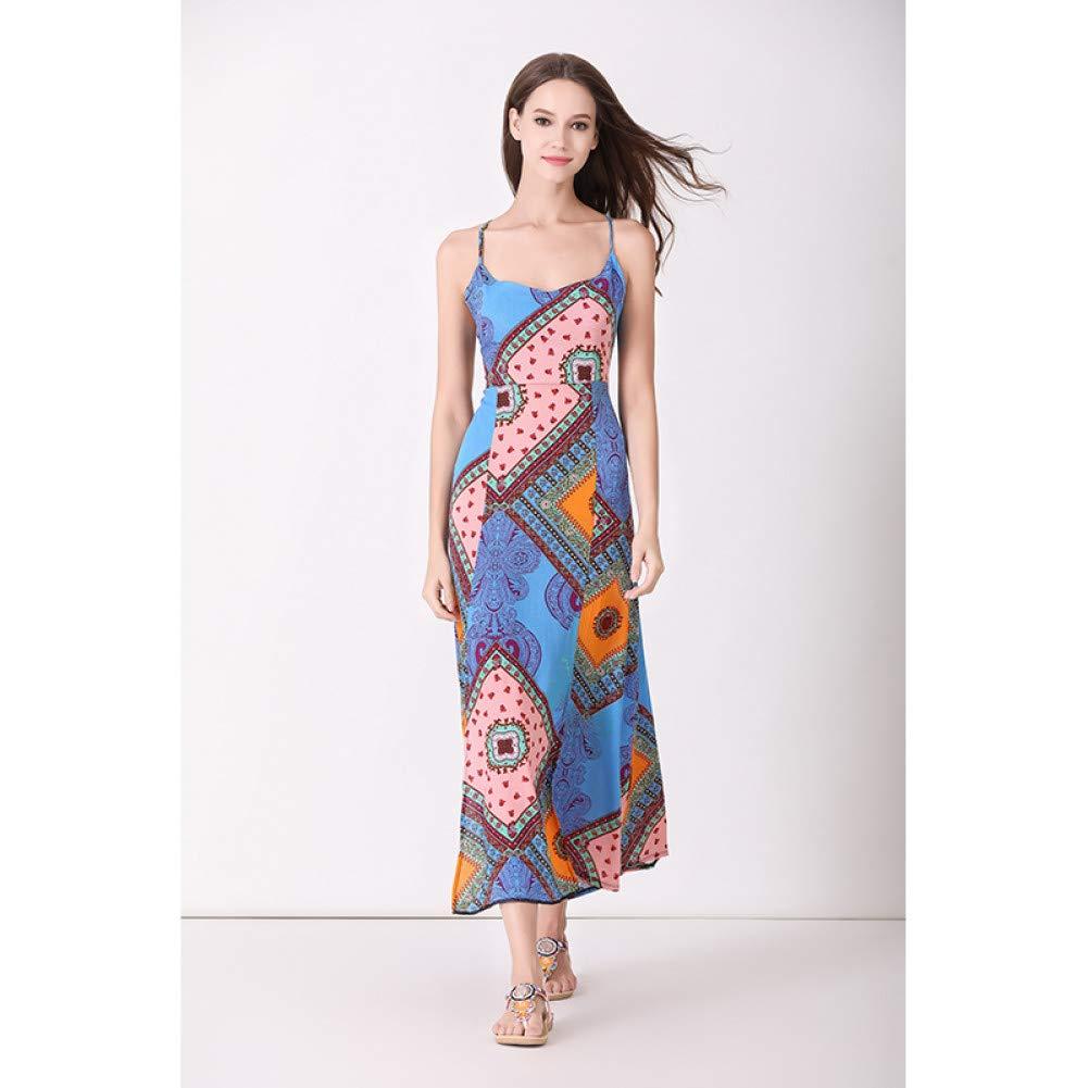 Clear Dress for Women,Women Summer Geometric Print Square Neck Beach Dress Sexy Split Spaghetti Strap Maxi Dress Lady Dress