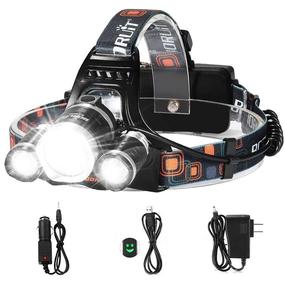 LED Headlamp, 5000 Lumens Max} 4 Modes Waterproof Head Flashlight Light with 2 Rechargeable, USB Cable, Wall Charger and Car Charger for Outdoor Sports by totobay