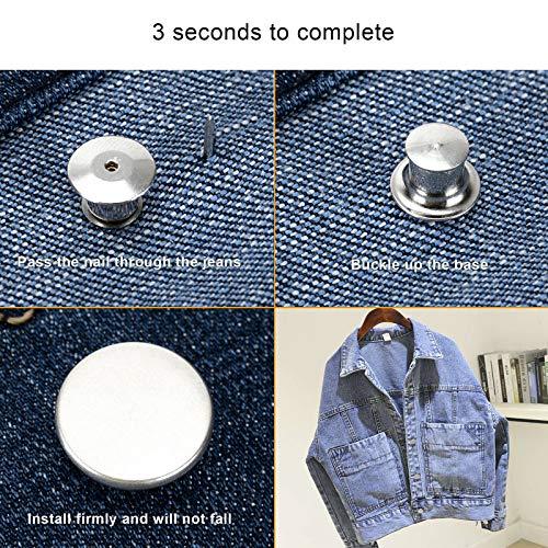 ZENGLU 4 Sets Replacement Jean Buttons No Sew Instant Button 17mm Detachable Pants Button Craft Buttons(Matt Silver)