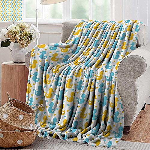 Swaddle BlanketRubber Duck,Baby Ducklings Pattern with Cute Little Hearts Love Animals Print Nursery Room,Blue and Yellow,Lightweight Extra Soft Skin FabricNot Allergic 30