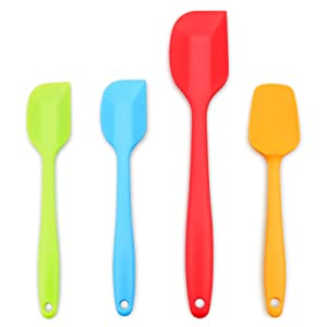 Silicone Spatula, Stainless Steel Core Heat Resistant Non stick Rubber Spatulas, Set of 4