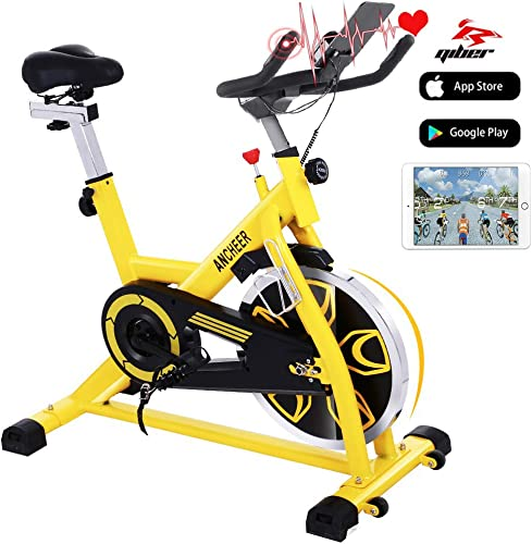 ANCHEER Indoor Cycling Bike Stationary Exercise Bikes with 49LBS Flywheel, Adjustable Resistance and LCD Monitor for Home Exercise Cardio Training, APP Control, Yellow