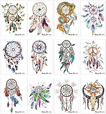12 hojas Atrapasueños flor cuerpo brazo para pared tatuaje ...