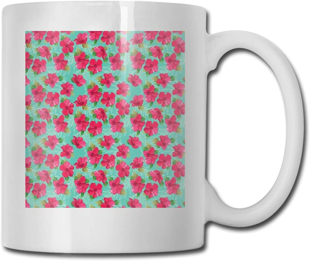 Funny Ceramic Novelty Coffee Mug 11oz,Botanical Garden Pattern With Pink Hibiscus Blossoms Aloha Nature,Unisex Who Tea Mugs Coffee Cups,Suitable for Office and Home